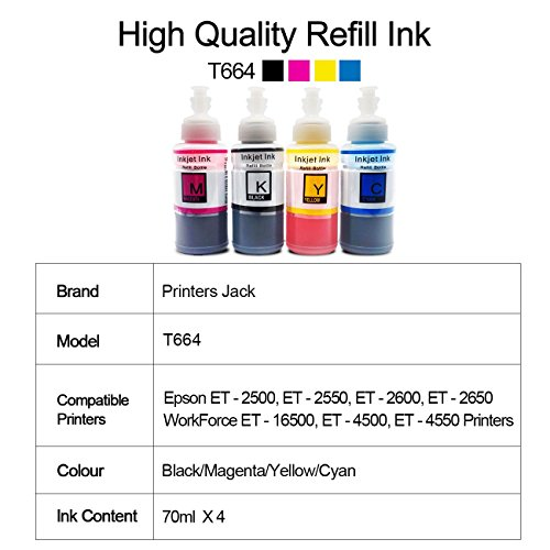 PJ Compatible Epson T664 Refill Ink Bottle kit for Expression ET-2650, ET-2500, ET-2550, ET-2600 & Workforce ET-16500, ET-4500, ET-4550 Printers