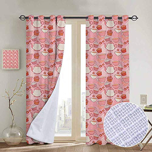 Blackout Curtains Tea Party,Tea Time Themed Illustration with Cherries and Cupcakes of Many Flavors, Pink Beige Orange,Thermal Insulated Panels Home Décor Window Draperies for Bedroom a100