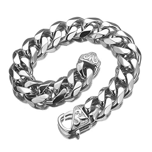 Granny Chic Hot Mens Boys Chain Cut Cuban Curb Polished Link 316L Stainless Steel Bracelet 7-11 inch(Silver 12mm, 7 inches)