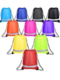Cheap Shappy 10 Pieces Drawstring Bag Sack Pack Cinch Tote Kids Adults Storage Bag for Gym Traveling (Reflective Multicolored)