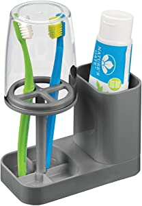 mDesign Modern Plastic Bathroom Vanity Countertop Toothpaste & Toothbrush Holder Stand with Rinsing Cup/Cover - Dental Center Holds Electric Toothbrushes - Charcoal Gray/Clear