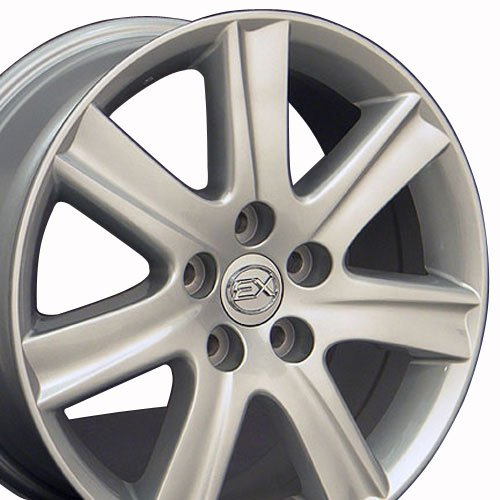 Lexus Rims Wheels - OE Wheels 17 Inch Fits Lexus ES GS HS IS LS RX SC Toyota Avalon Camry Matrix Rav4 Sienna ES 350 Style LX12 Painted Silver 17x7 Rim Hollander 74190