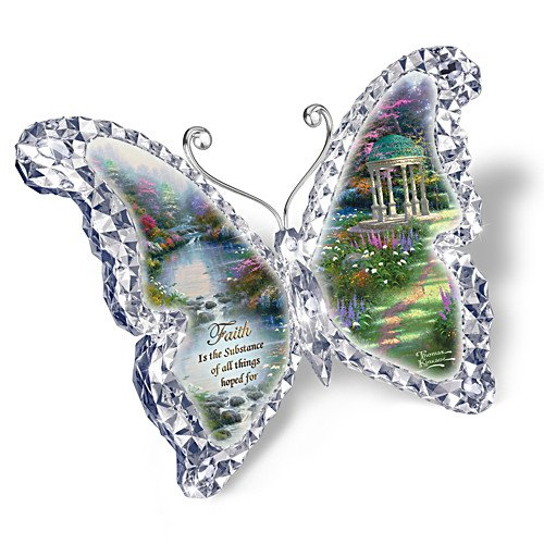 Thomas Kinkade Crystalline Butterfly Sculpture with Artwork by The Bradford Exchange