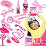 18pcs Educational Baby Toy Doctor Kit ,Pretend & Play Doctor Set Plastic Pink Nursing Kit Doctor Set Toy Simulation Child Medical Kit For Role Play Nurse Game For Girl Birthday and Xmas Gift