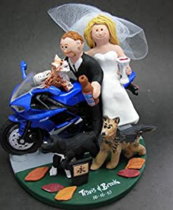 Sport Motorcycle Wedding Cake Topper - Made to Order