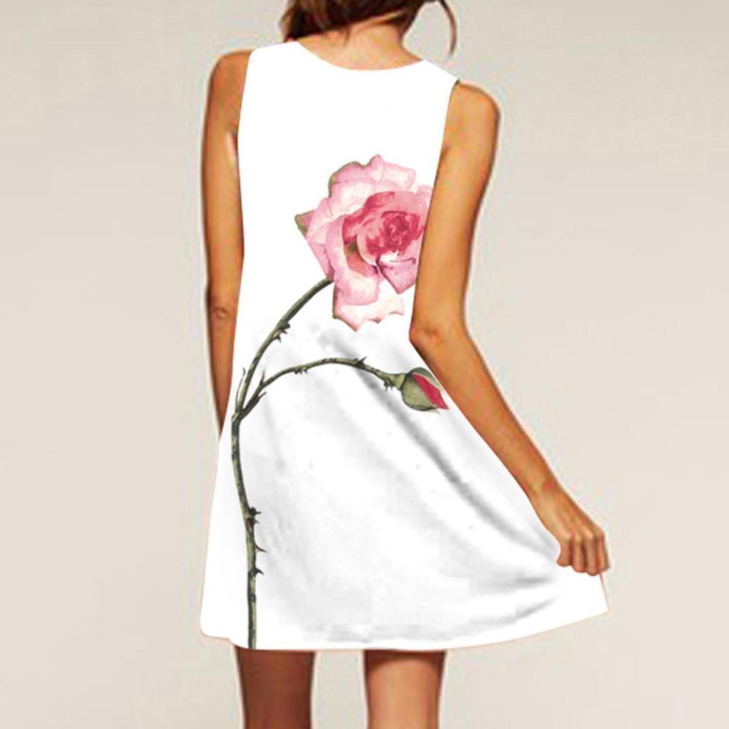 NREALY Women's Vintage Boho Summer Sleeveless Beach Printed Short Mini Dress Vestido(S, d_White) by NREALY (Image #3)