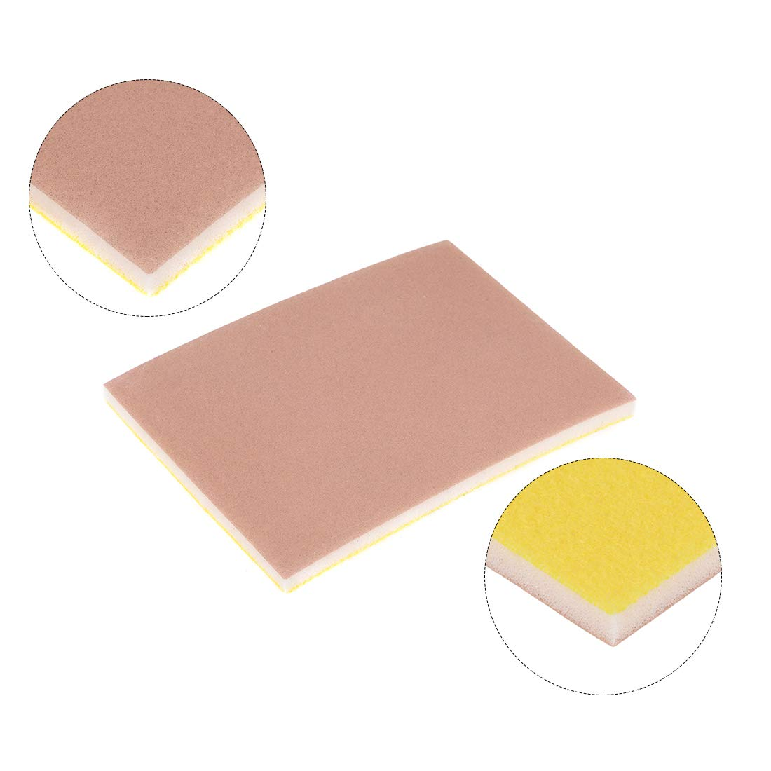 uxcell Sanding Sponge Sanding Block Pad Hook and Loop 400 Grit 3.9inch X 2.8inch X 0.2inch Pink 5pcs