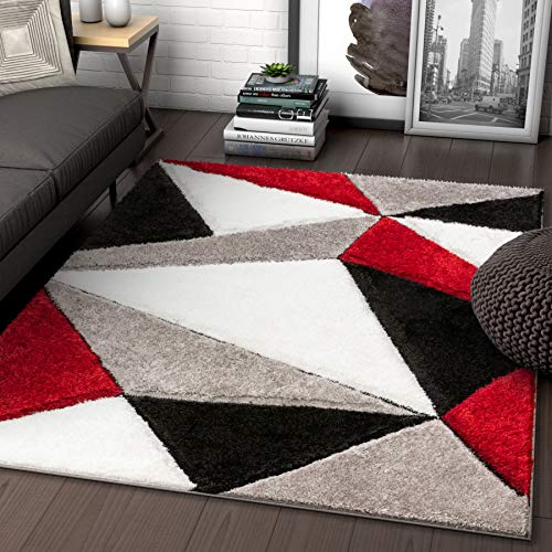 Well Woven Walker Red Triangle Boxes Thick Soft Plush 3D Textured Shag Area Rug 5x7 (5'3