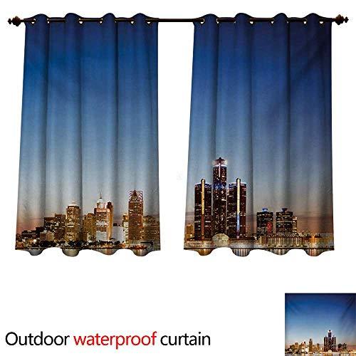 WilliamsDecor Detroit Outdoor Balcony Privacy Curtain Michigan Skyline at Twilight Waterfront Lively City Serene Calm Travel Destination W72 x L63(183cm x 160cm) ()