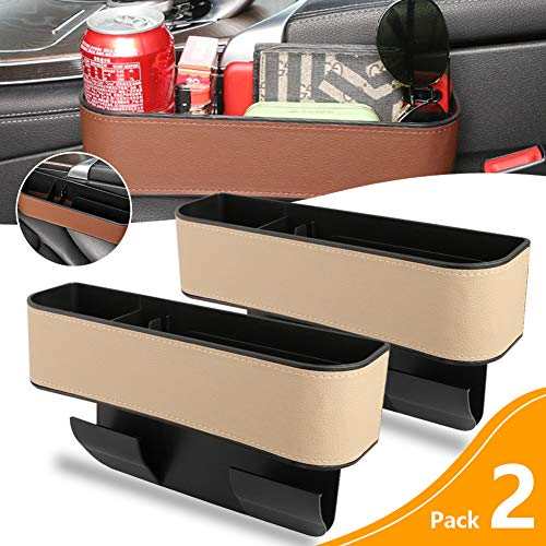 Multifunctional Car Seat Gap Organizer Filler Box with Cup Holder,Premium PU Leather Car Console Side Seat Storage Box for Cellphones, Keys, Cards, Wallets,Not Fit Central Console Lower Than The Seat.