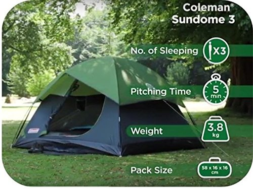 Coleman Sundome 3 Person Dome Tent Large 600mm Amazon.in Sports Fitness u0026 Outdoors & Coleman Sundome 3 Person Dome Tent Large 600mm: Amazon.in: Sports ...