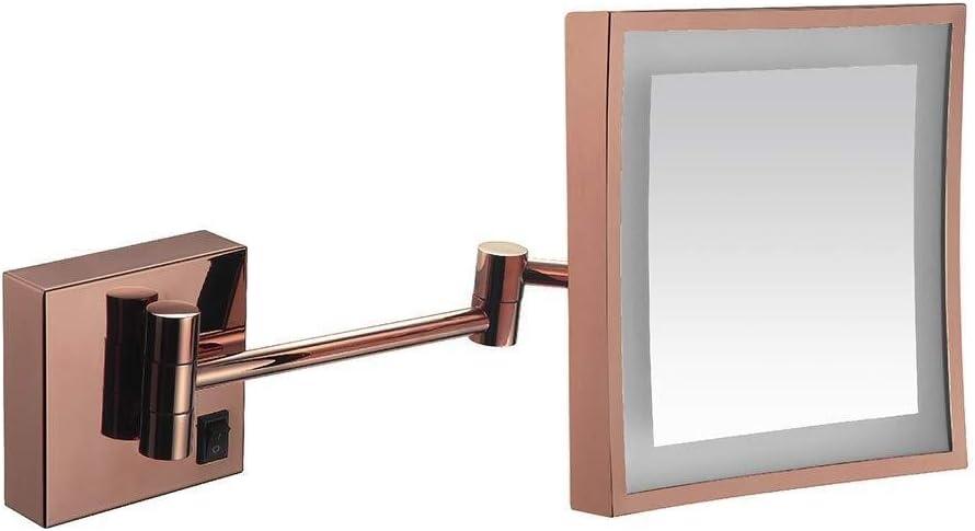 MGEU make-up spiegel, 8 inch LED-licht wandhouder Eiteliteit eenzijdig met schakelaar 3x vergrotingsbad scheren verstelbare armen make-up spiegel 262m