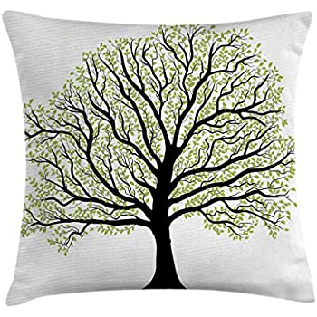 18 X 18 Inches Decorative Square Accent Pillow Case Ambesonne Gray Throw Pillow Cushion Cover Beige Black Photo of A Big Tree on A Field Branches Fall Season Monochromic Landscape Artwork