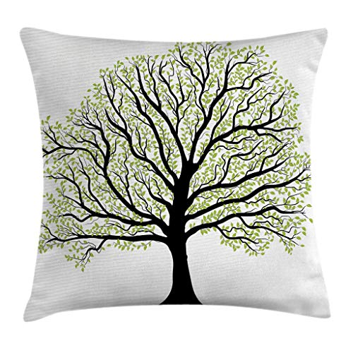 - Ambesonne Tree of Life Throw Pillow Cushion Cover, Big Old Lush Tree with Lot of Leaves and Branches Nature Trust Home Art, Decorative Square Accent Pillow Case, 18 X 18 Inches, Black White Green