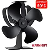Aobosi Stove Fan Heat Powered Fireplace Fan for Wood/Log Burner/Fireplace Save 20% Fuel Cost, Lower Starting Temperature (50℃)-4 Blades Black