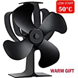 Aobosi Stove Fan Heat Powered Fireplace Fan for Wood/ Log Burner/Fireplace Save 20% Fuel Cost, Lower Starting Temperature (50℃)---4 Blades Black