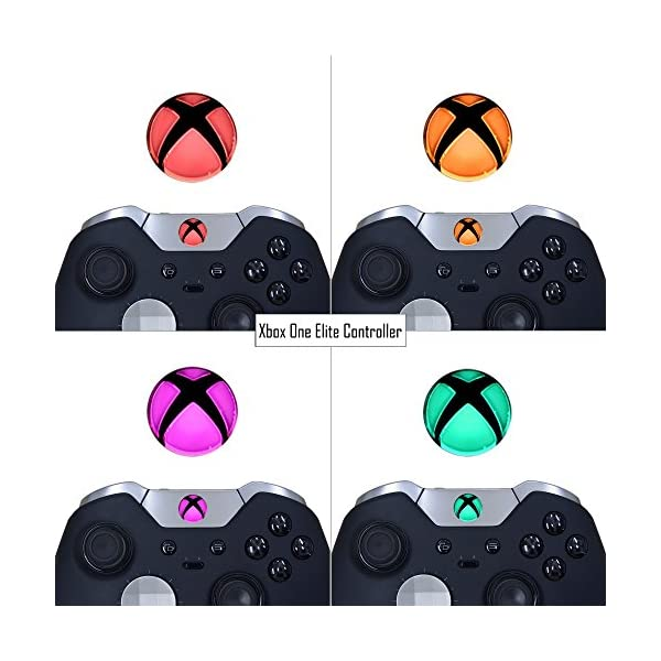 eXtremeRate Custom Home Guide Button LED Mod Stickers for Xbox One/S/Elite/X Controller with Tools Set - 40pcs in 8 Colors 6