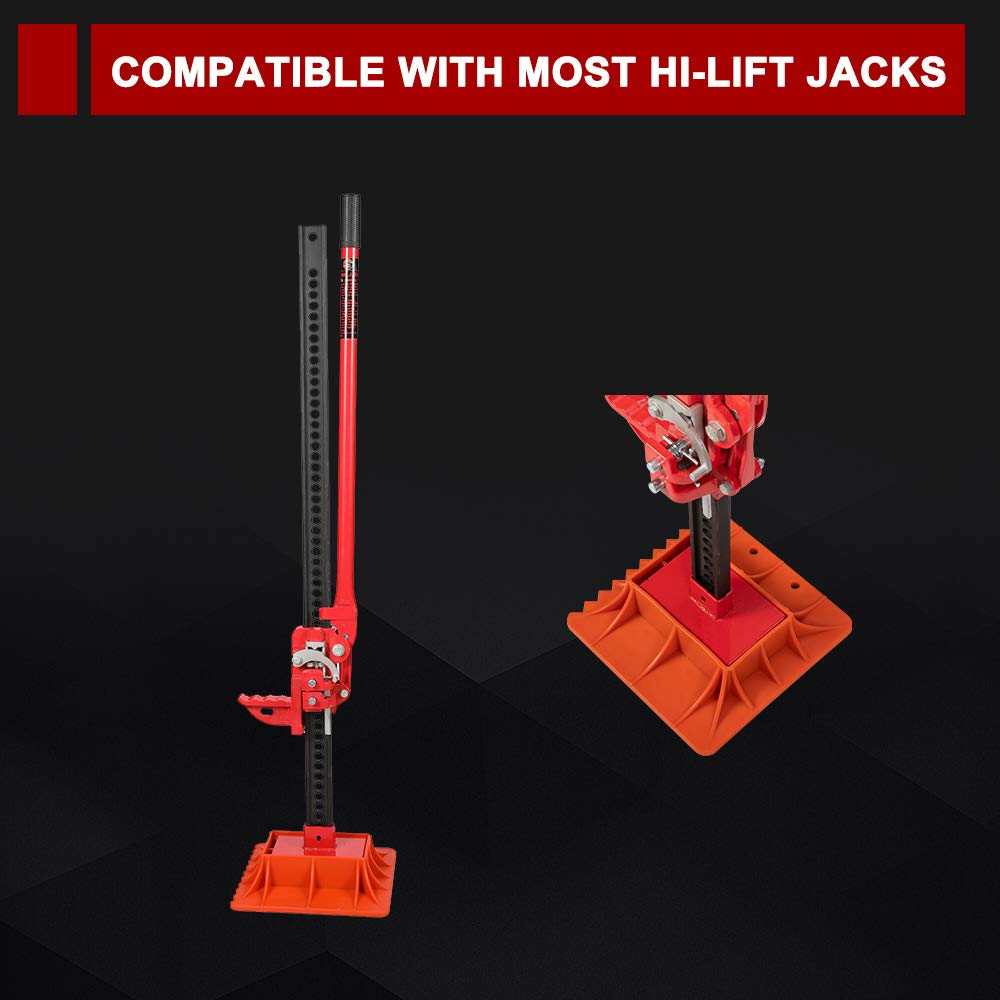 BUNKER INDUST Off-Road Base for Hi Lift Jack,Heavy Duty Farm Off-Road Lifting Jack Plate to Alleviate Jack Hoisting Sinkage Orange