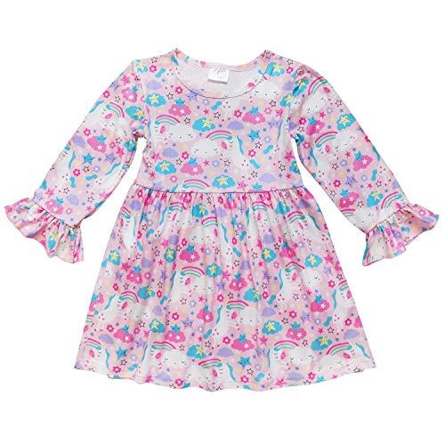 So Sydney Little Girls Long Sleeve Fall Winter Flare Stretch Cotton Holiday Princess Dress (S (3T), Rainbows & Unicorns)