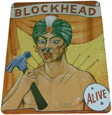 Vintage Reproduction Blockhead Circus Sign 8 X 12 Inches New Aluminum Freak Show
