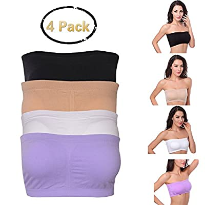 Fasoar Women's Bandeau Bra, Women Strapless Seamless Padded Bandeau Tube Top 3-4 Pack