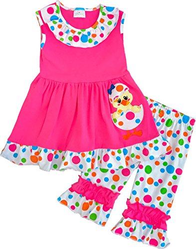 Angeline Boutique Clothing Girls Easter Eggs Pink Chick Polka Dot Capri Set (Easter Boutique)
