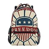 Vintage American Flag Freedom Unisex Rucksack Satchel Casual Daypack, Hiking Backpack