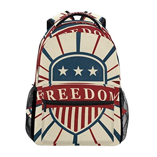 Vintage American Flag Freedom Unisex Rucksack Satchel Casual Daypack, Hiking Backpack by Franzibla