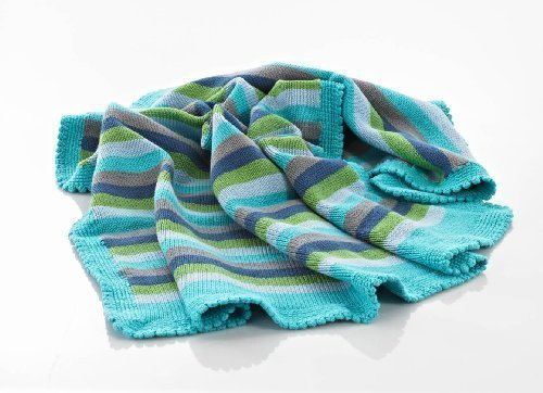 Blanket Crochet Baby Edging (Baby Blanket - Blue Stripey)