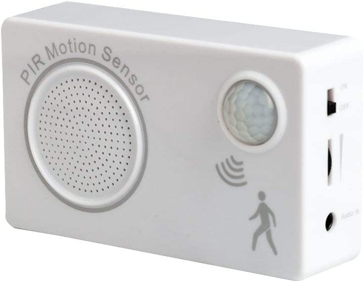 Upgrade Version - Mini PIR Motion Sensor- Recording sound through Phone-Welcome Alarm-Sound Motion Doorbell- Home Security Driveway Alarm- Store Welcome Entry Chime- Audio-in Download Function (White)