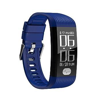 FLy Inteligente Pulsera Deportiva Monitoreo De Frecuencia Cardíaca Presión Arterial ECG Reloj Universal Reloj Inteligente (Color : Azul): Amazon.es: ...