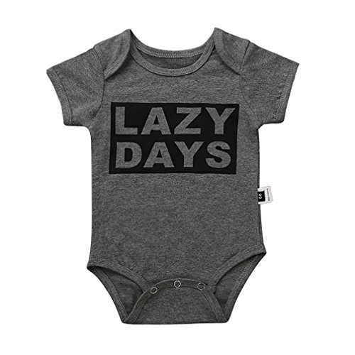 Cokate Baby Rompers  Infant Boys Girls Short Sleeve Soft Bodysuit Tops Clothes For 0 18M  Lazy Days  0 3M