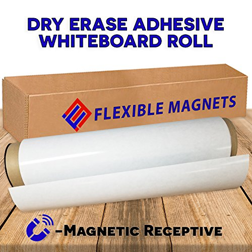 12'' x 24'' Dry Erase Whiteboard Sheet with Adhesive on Back - Magnetic Receptive. by Flexible magnets