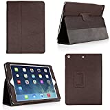 Bear Motion for New 9.7-Inch iPad 2018 - 2017 Case - Genuine Cowhide Leather Case with Hand Strap - Built-in Stand and Auto Wake Sleep Function for Apple New iPad 2018 - 2017 and iPad Air 1 - Brown