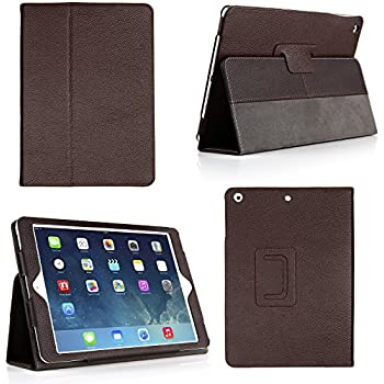 Bear Motion for New iPad 9.7 Inch 2017 Case - Genuine Cowhide Leather Case with Hand Strap, Built-in Stand and Auto Wake/Sleep Function for Apple New iPad 2017 and iPad Air 1 - Brown