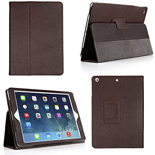 Bear Motion for New 9.7-Inch iPad 2018, 2017 Case - Genuine Cowhide Leather Case with Hand Strap, Built-in Stand and Auto Wake/Sleep Function for Apple New iPad 2018, 2017 and iPad Air 1 - Brown ()