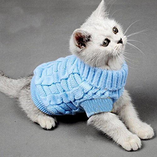 Evursua Turtleneck Pet Cats Sweater Aran Pullover Knitted Doggie Kitty Clothes Solid Colors for Kitten Chihuahua Pug (Blue, XS)