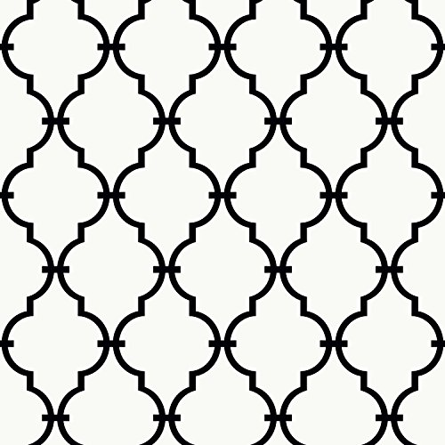 York Wallcoverings Peek-A-Boo Graphic Trellis Removable Wallpaper, White/Black