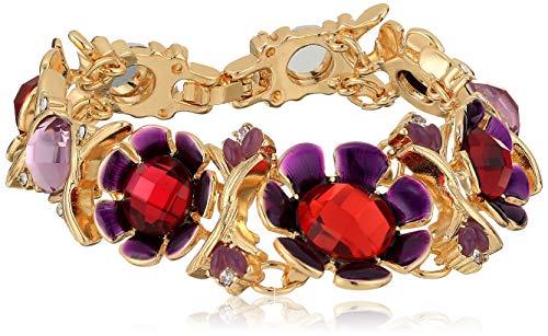 Napier Women's Red Multicolored Boxed Flower Flex Link Bracelet