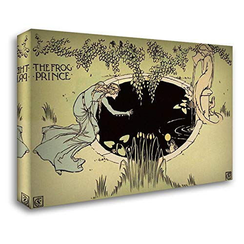 Frog Prince - The Fountain 40x28 Gallery Wrapped Stretched Canvas Art by Crane, Walter