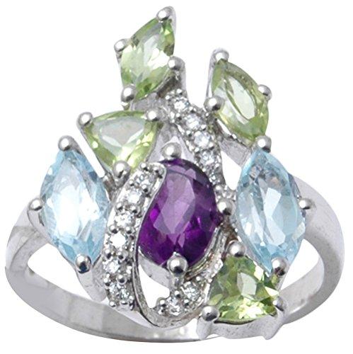 Designer Multi Gemstone - Banithani 925 Sterling Silver Multi Gemstone Designer Ring Indian Fashion Women Jewelry
