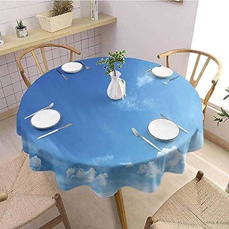 Sky Kitchen - Mantel redondo (160 cm), color azul y blanco