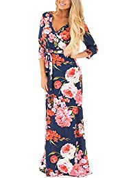 Dokotoo Womens Summer Floral Print Faux Wrap Maxi Long...