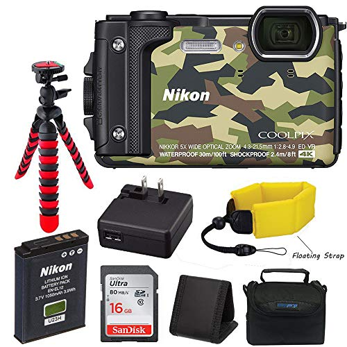 Nikon W300 Camo Waterproof Underwater Digital Camera (Camouflage) with 16GB SD Card, Floating Strap, Flexible Tripod Camera Case and Accessory Bundle