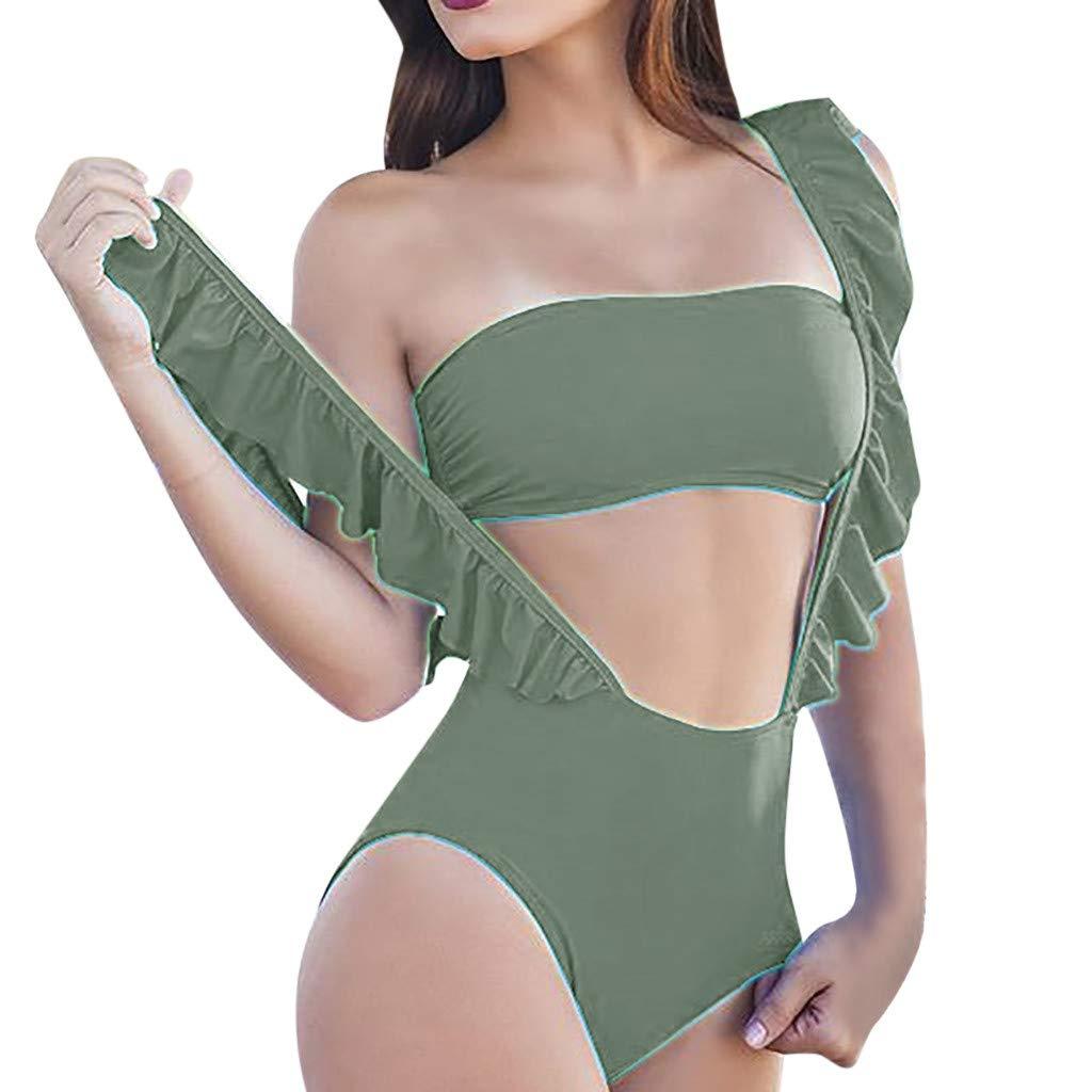 Two Piece Bikinis Set Swimwear Bathing Suit Swimsuit Beach Wear Cover up Green