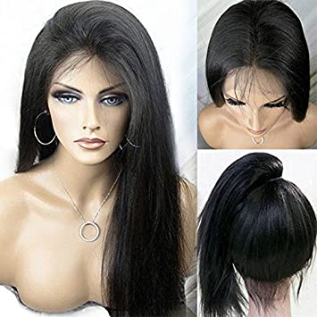 LUFFYWIG Women s 100% Malaysian Human Hair Silky Straight Wig Glueless Lace  Front Wigs with Baby 46b656da8
