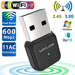 Wireless USB Adapter,Wavlink WiFi Dongle Dual Band WiFi Adapter Max Speed to 600Mbp,Antennas IEEE802.11ac 2.4GHz/5GHz Ethernet Network (Matte Black)