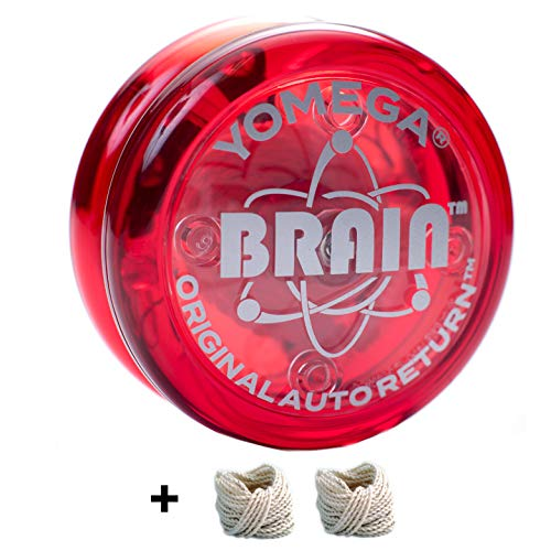 Yomega - The Original Yoyo with The Brain - Includes Auto Return Technology- Beginner Level One String Trick Yo Yo + Extra 2 Strings & 3 Month Warranty (Red) ()