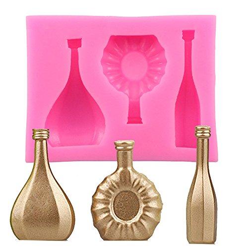 Ruikey Botella de Vino de la Pasta de Chocolate Moldes Decoraci/ón Fimo Arcilla del Molde Herramienta del Molde para Hornear de Cocina Hornear