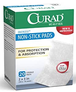Curad Non-Stick Pads, 2 Inches X 3 Inches, 20-Count (Pack of 3)